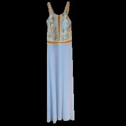 Maxi φόρεμα με τιράντες από δαντέλα σιελ
