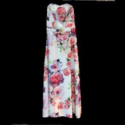 Maxi strapless φόρεμα με ζώνη