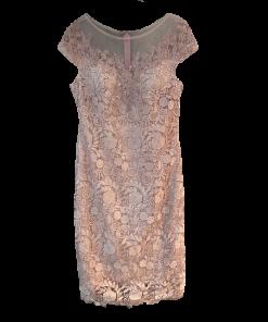 Midi φόρεμα με διαφάνεια και κοντά μανίκια