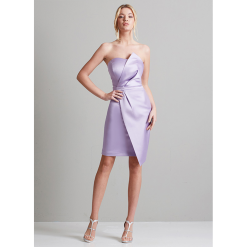 Short satin dress with recesses