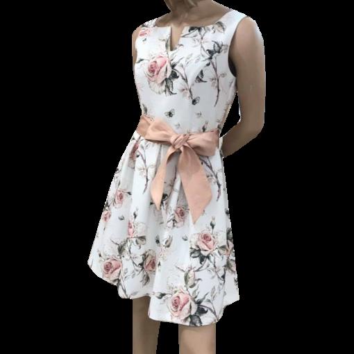 Mini floral φόρεμα σε Α γραμμή ροζ