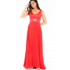 Maxi red dress with pleated skirt