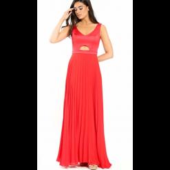 Maxi κόκκινο φόρεμα με πλισέ φούστα