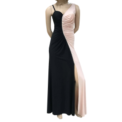 Maxi two-color dress with opening