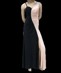 Maxi δίχρωμο φόρεμα με άνοιγμα