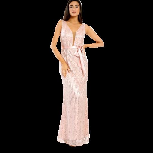 Maxi βραδινό φόρεμα με ζώνη