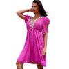 Short lace dress with colorful fuchsia