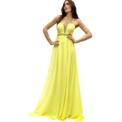 Maxi κίτρινο φόρεμα με λεπτές τιράντες