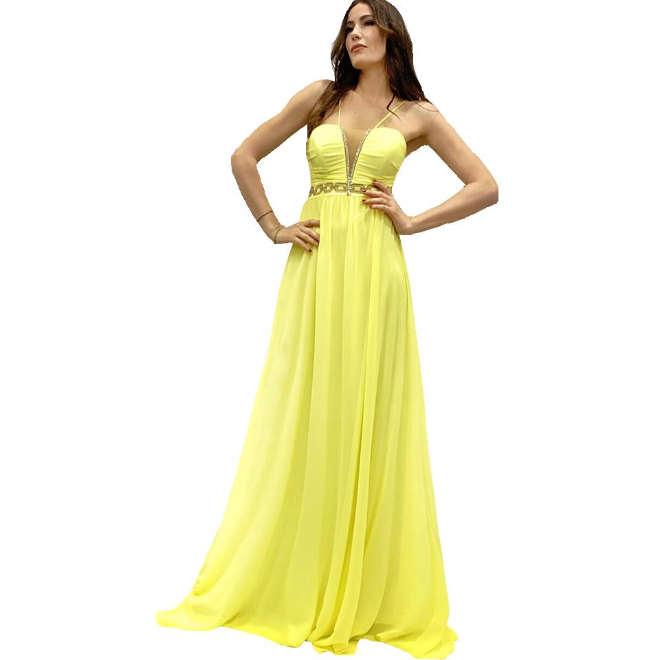 8271505d84c Maxi κίτρινο φόρεμα με λεπτές τιράντες
