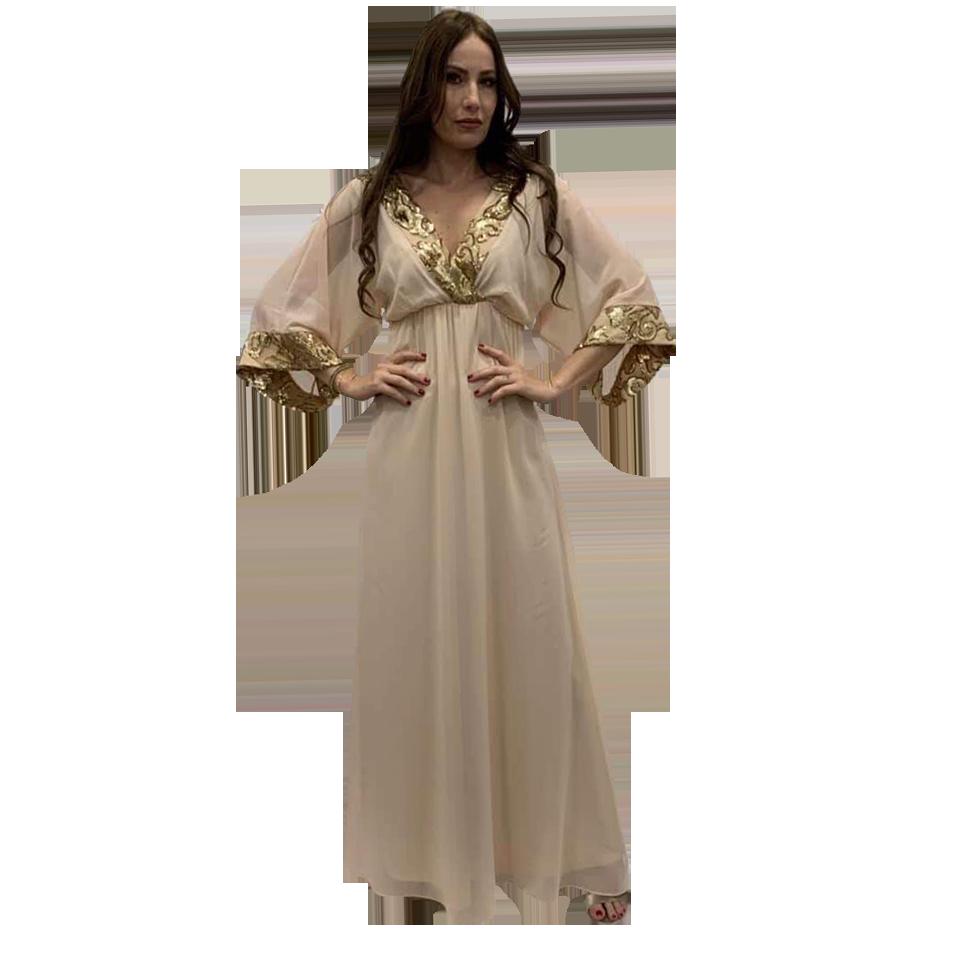 4bd11b6c3228 Maxi φόρεμα καφτάνι με χρυσές λεπτομέρειες | Primadonna.com.gr