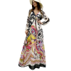 Maxi floral dress with hood in the middle