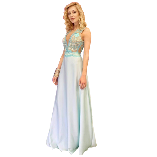 Maxi dress with V slide on the bust