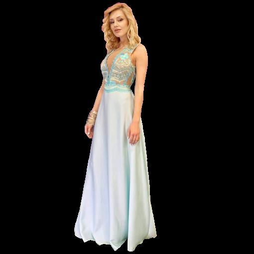 Maxi φόρεμα με V διαφάνεια στο μπούστο