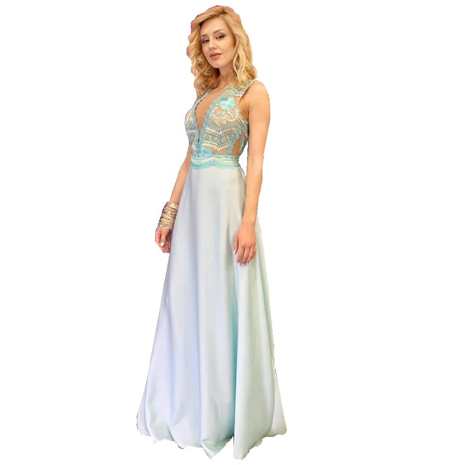 bb46a3e7ece0 Maxi φόρεμα με V διαφάνεια στο μπούστο