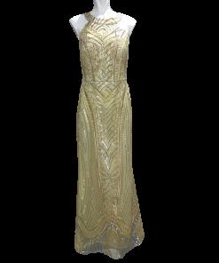 Maxi χρυσό φόρεμα με εντυπωσιακή πλάτη