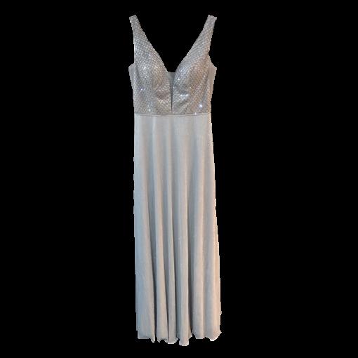 Maxi φόρεμα με διαφάνειες στα πλαινά ασημί
