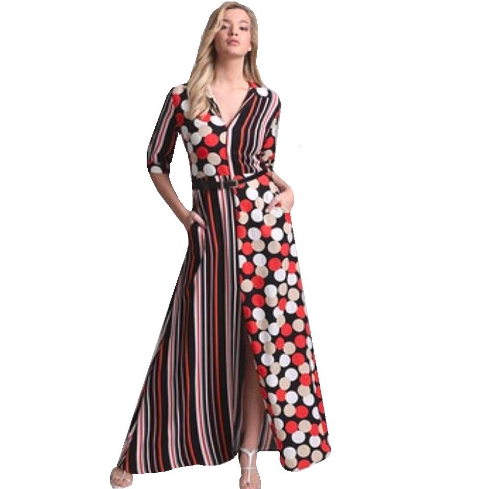f6d44d564b87 Maxi φόρεμα με ριγέ και πουά