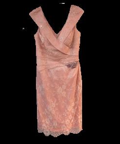 Midi φόρεμα με δαντέλα και V λαιμόκοψη