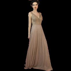 Maxi φόρεμα με διαφάνειες στα πλαινά