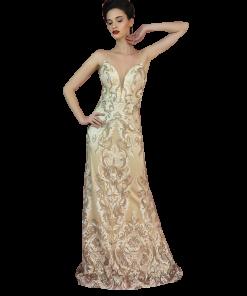 Maxi φόρεμα με χρυσή δαντέλα