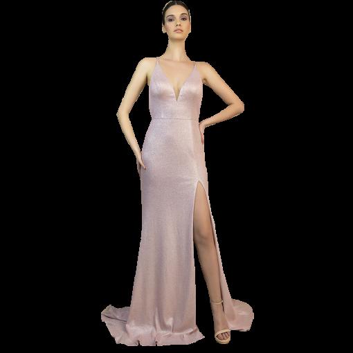 Applied maxi dress with tear