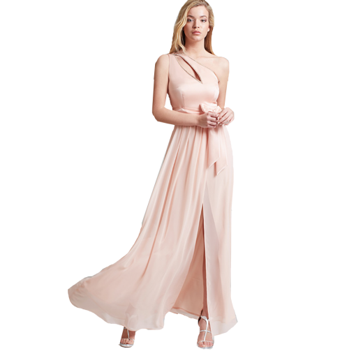 Maxi dress with one shoulder and opening
