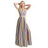 Maxi sleeveless striped dress with tear