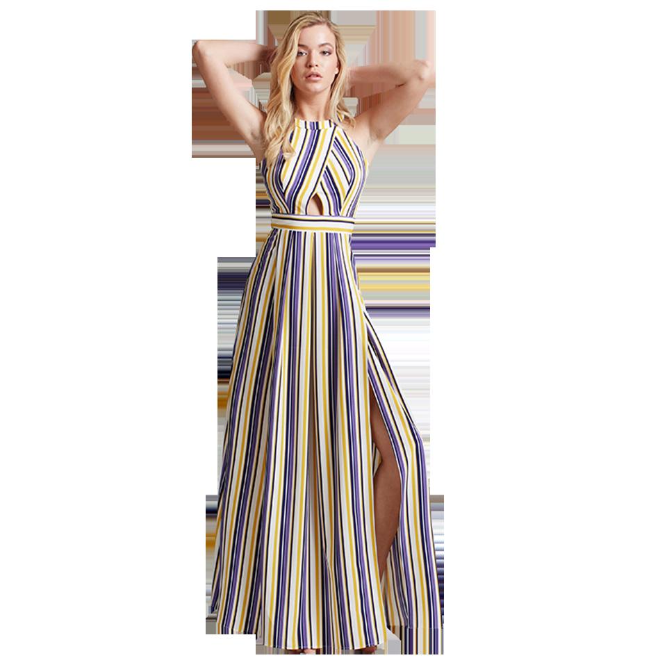 7f8491daf24 Maxi αμάνικο ριγέ φόρεμα με σκίσιμο   Primadonna.com.gr