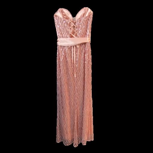 Maxi strapless evening dress with belt