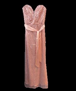 Maxi strapless βραδινό φόρεμα με ζώνη