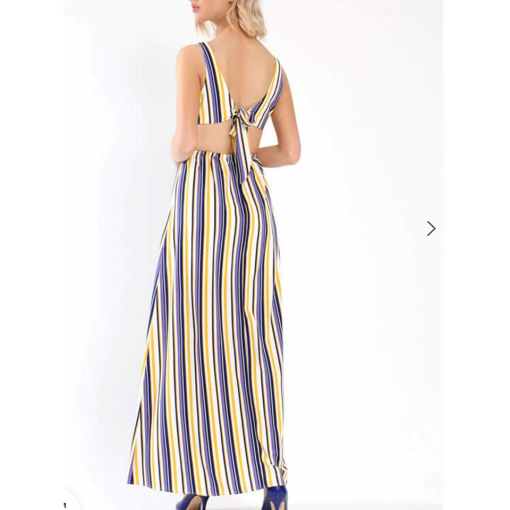 Maxi αμάνικο ριγέ φόρεμα με σκίσιμο