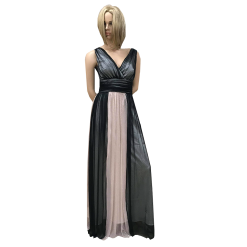 Maxi φόρεμα κρουαζέ ασπρόμαυρο