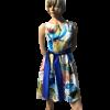 Mini floral φόρεμα με μπλέ ζώνη