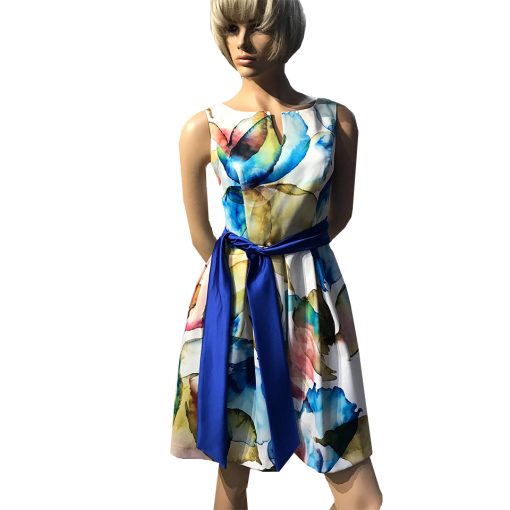 Mini floral dress with blue belt