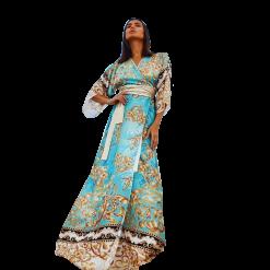 Maxi εμπριμέ φόρεμα καφτάνι κρουαζέ