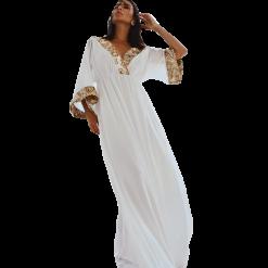 Φόρεμα καφτάνι με χρυσές λεπτομέρειες