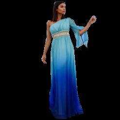 Maxi φόρεμα μουσελίνα ντεγκραντε με εναν ώμο
