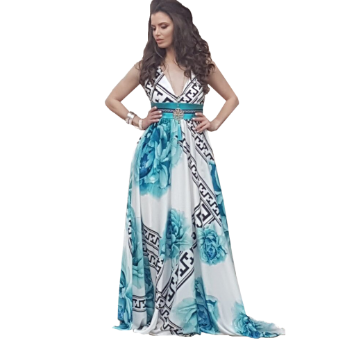 Maxi φόρεμα floral με λάστιχο στην πλάτη