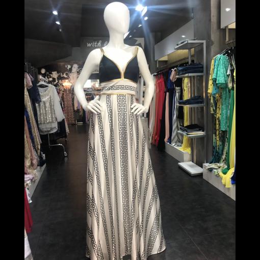 Maxi φόρεμα μαίανδρος με χρυσές τιράντες