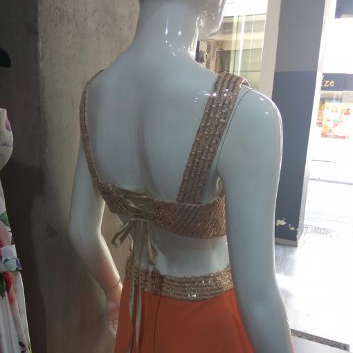 Maxi κομψό φόρεμα με χρυσό μπούστο