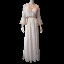 Maxi φόρεμα κρουαζέ με δαντέλα