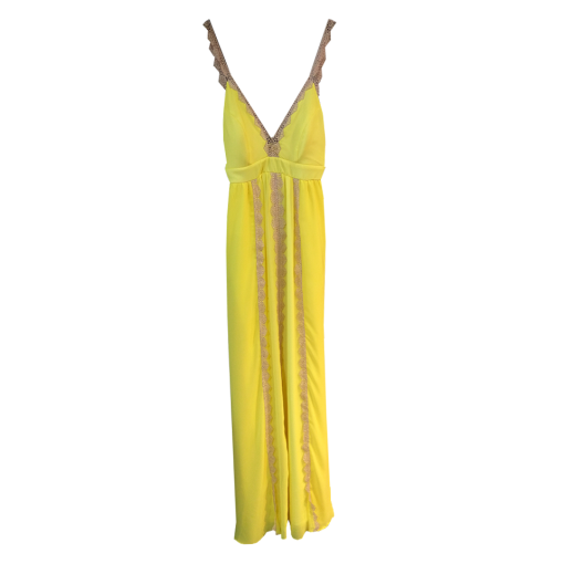 Maxi dress with vertical lace strips
