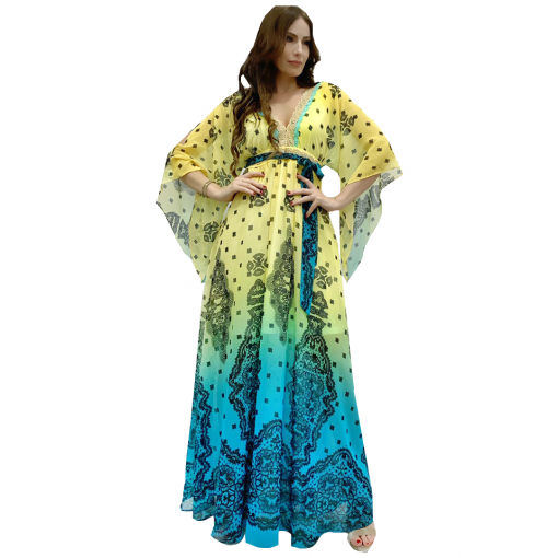Maxi dress kaftan with sleeves