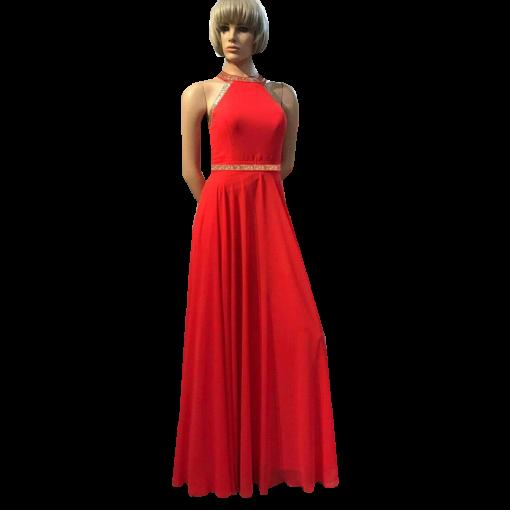 Maxi βραδινό φόρεμα με παρτούς ώμους