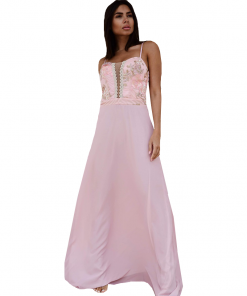 Maxi φόρεμα με λεπτές ελαστικές τιράντες