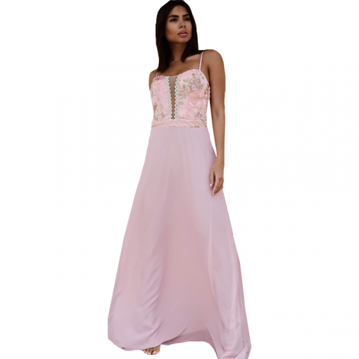 Maxi dress with thin elastic braces