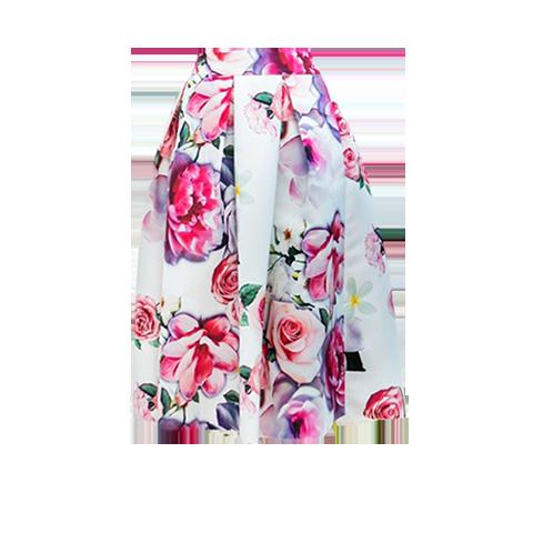 Floral φούστα με μονόχρωμο top