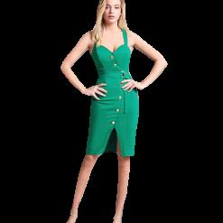 Casual κοντό φόρεμα με κουμπιά και ζώνη