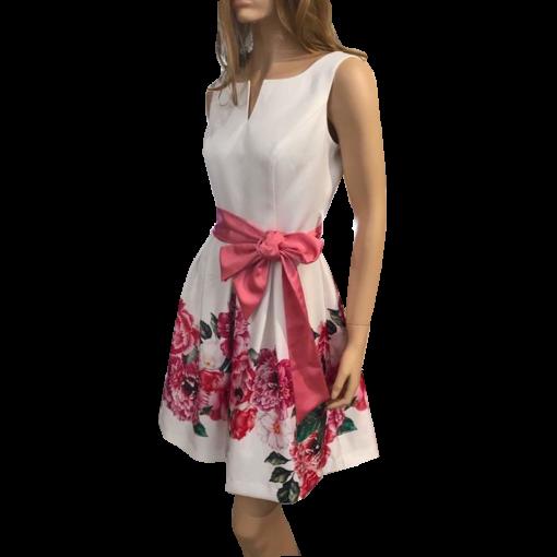 Mini floral φόρεμα με άσπρο μπούστο