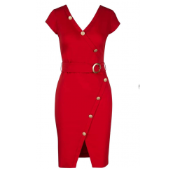 Κοντό φόρεμα με κουμπιά και ζώνη